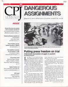 Dangerous Assignments, the newsletter for the Committee to Protect Journalists. From the Laurie S. Wiseberg and Harry Scoble Human Rights Internet Collection at the Thomas J. Dodd Research Center