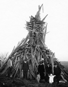 Armistice Day bonfire, Connecticut Agricultural College, 1919
