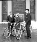 Homer D. Babbidge and students in front of the Student Union, 1967