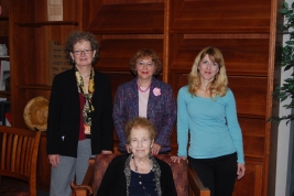 l-r:Terri J. Goldich, Curator; Billie M. Levy, Donor; Kena Sosa, Researcher.  Seated:  Mrs. Eva Greenwood.